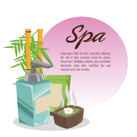Bamboo and cream icon. Spa center and healthy lifestyle theme. Colorful design. Vector illustration