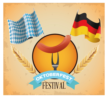german culture: Sausage and flag icon. Oktoberfest germany festival and celebration theme. Colorful design. Vector illustration