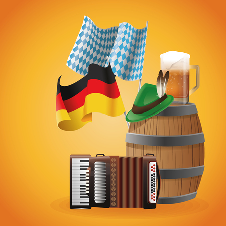 Accordion hat beer barrel and flag icon. Oktoberfest germany festival and celebration theme. Colorful design. Vector illustration