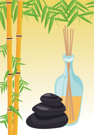 Bamboo stones and oils icon. Spa center and healthy lifestyle theme. Colorful design. Vector illustration