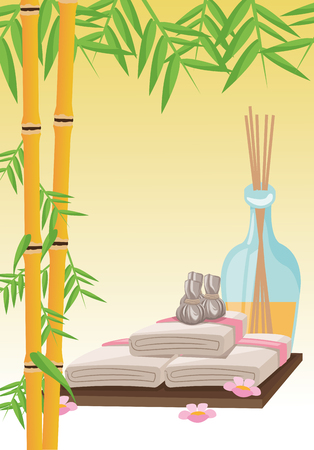 pampering: Bamboo towel and oils icon. Spa center and healthy lifestyle theme. Colorful design. Vector illustration Illustration