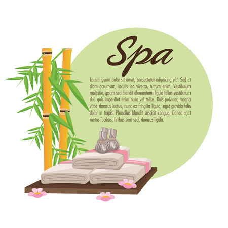 pampering: Bamboo and towel icon. Spa center and healthy lifestyle theme. Colorful design. Vector illustration Illustration
