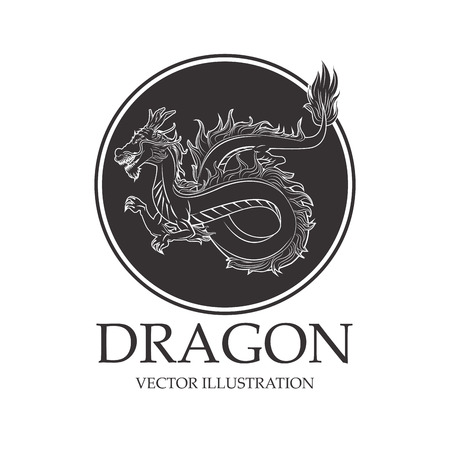 Dragon cartoon inside seal stamp icon. Chinese asian fantasy and animal theme. Isolated and silhouette design. Vector illustration