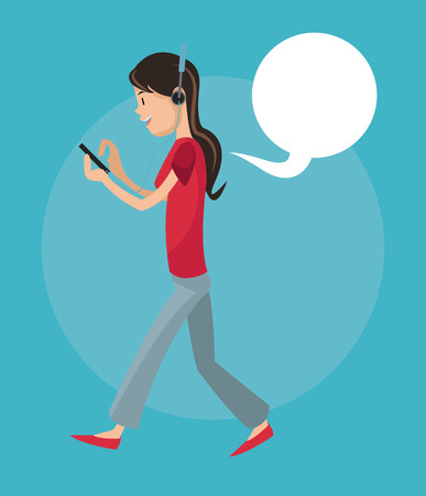listening to people: Girl cartoon listening music with smartphone icon. Mobile people theme. Colorful design. Vector illustration Illustration