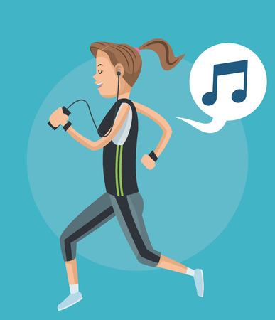 listening to people: Girl cartoon listening music with bubble and smartphone icon. Mobile people theme. Colorful design. Vector illustration Illustration