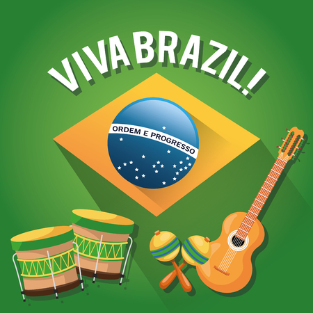 maraca: Guitar drum and maraca icon. Brazil culture america and tourism theme. Colorful design. Vector illustration