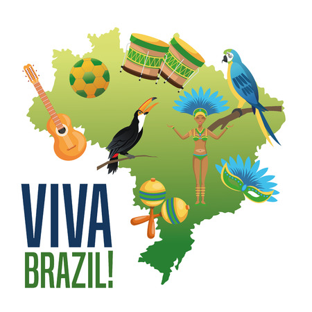 Garota cartoon and icon set. Brazil culture america and tourism theme. Colorful design. Vector illustration