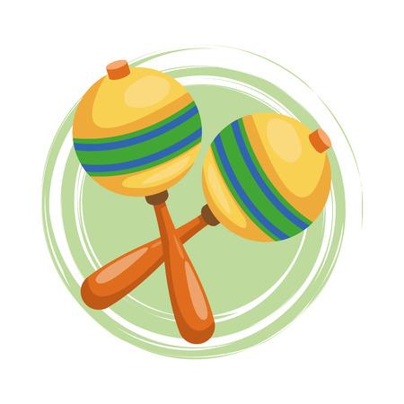 maraca: Maraca icon. Instrument music and sound theme. Colorful design. Vector illustration Illustration