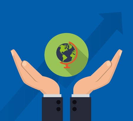 hands holding earth: flat design hands holding earth globe business related icons image vector illustration
