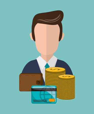 economic forecast: money with economy and cash related icons image vector illustration design