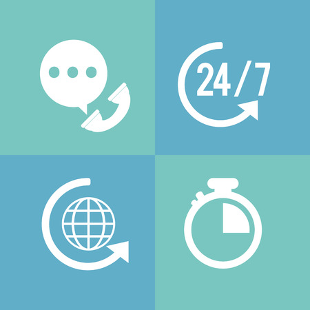 online support: online support or call center related icons image vector illustration design