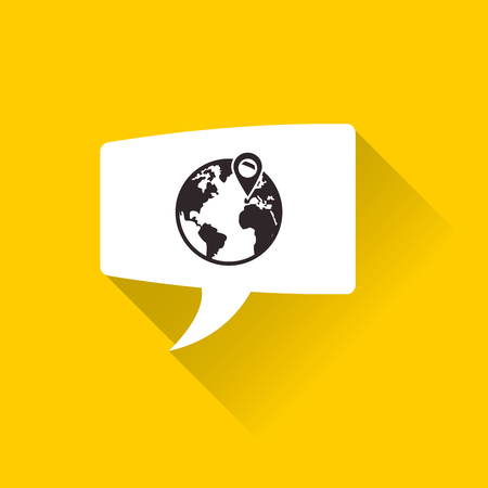 environment geography: planet earth and gps pin inside conversation bubble image vector illustration Illustration