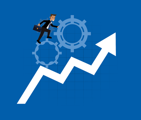 elevation: businessman and gear with elevation arrow icons image vector illustration design Illustration