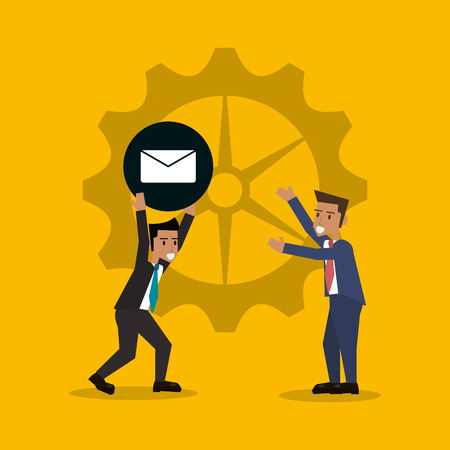 associate: teamwork and business with gears related icons image vector illustration design