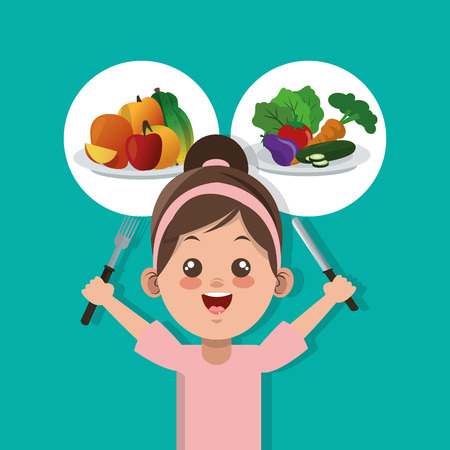 happy kid with healthy food related icons image vector illustration design