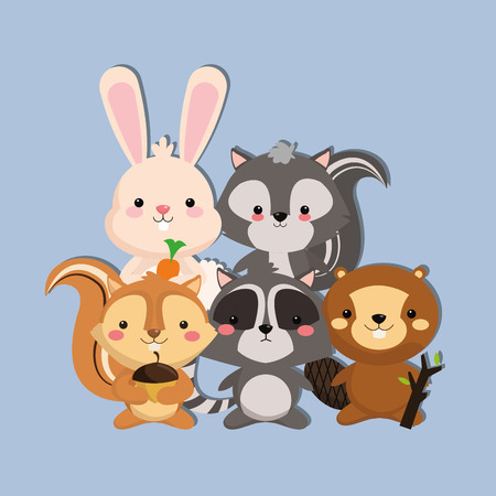 forest conservation: cute skunk rabbit squirrel racoon and beaver image vector illustration design