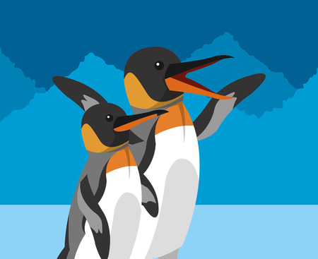 habitat: penguins and polar habitat related icons image vector illustration design