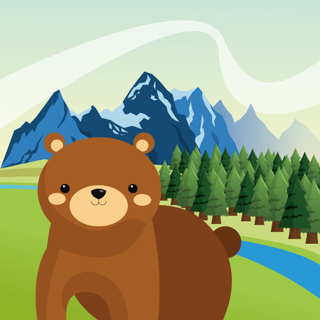 forest conservation: brown bear icon over mountain and forest landscape image vector illustration design