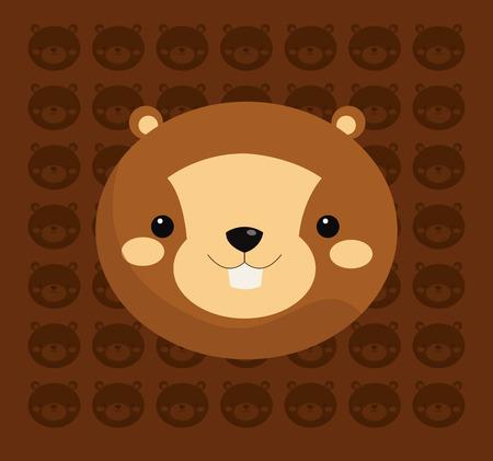 forest conservation: beaver with pattern background image vector illustration design Illustration