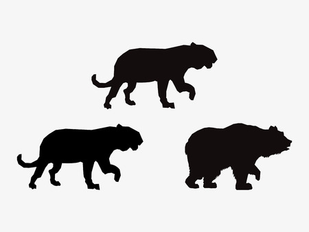 forest conservation: big cats and bear sihouette icons image vector illustration design Illustration