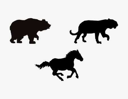 big cat: silhouetttes of horse big cat and bear icons image vector illustration design