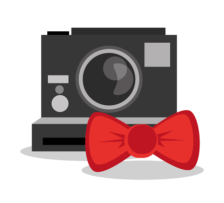 vintage theme: Camera and bowtie icon. Hipster style fashion and vintage theme. Colorful design. Vector illustration Illustration