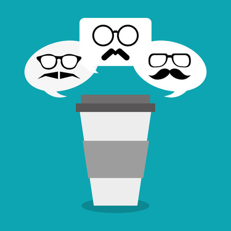 vintage theme: Coffee mug mustache and glasses icon. Hipster style fashion and vintage theme. Colorful design. Vector illustration