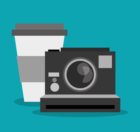 vintage theme: Coffee mug and camera icon. Hipster style fashion and vintage theme. Colorful design. Vector illustration Illustration