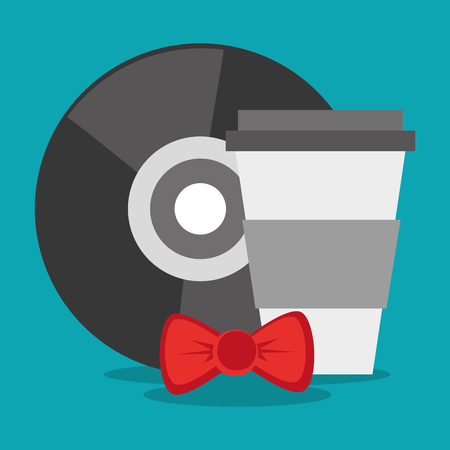vintage theme: Coffee mug vinyl and bowtie icon. Hipster style fashion and vintage theme. Colorful design. Vector illustration