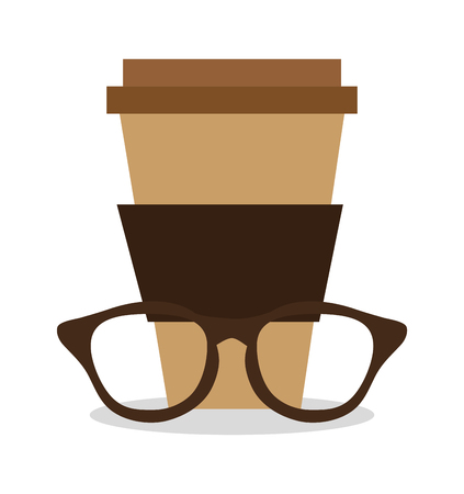 vintage theme: Coffee mug and glasses icon. Hipster style fashion and vintage theme. Colorful design. Vector illustration Illustration