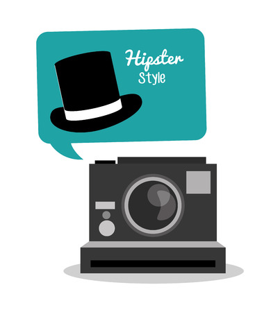 vintage theme: Camera and hat icon. Hipster style fashion and vintage theme. Colorful design. Vector illustration Illustration