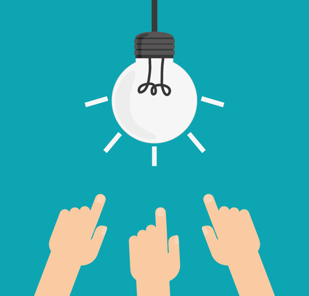 Light bulb and hands icon. Big and great idea theme. Colorful design. Vector illustration Illustration