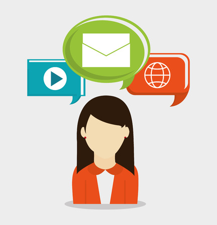 Femme avatar icône. Social communcation multimédia des médias et le thème du marketing numérique. conception colorée. Vector illustration Vecteurs