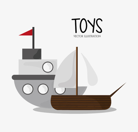 ship with gift: Ship icon. Toy gift childhood play game and hobby theme. Colorful design. Vector illustration Illustration