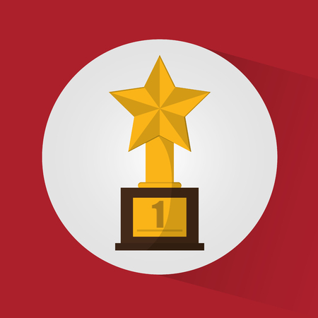 Gold trophy and star icon. Champions league winner and success theme. Colorful design. Vector illustration