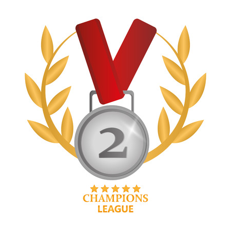 Medal with wheat crown icon. Champions league winner and success theme. Colorful design. Vector illustration