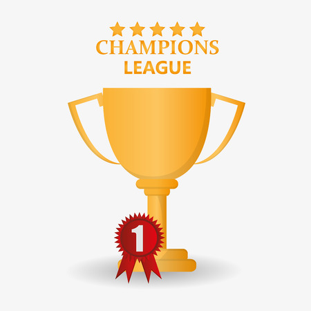 competitor: Gold trophy cup icon. Champions league winner and success theme. Colorful design. Vector illustration