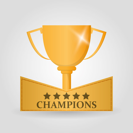 Gold trophy cup icon. Champions league winner and success theme. Colorful design. Vector illustration