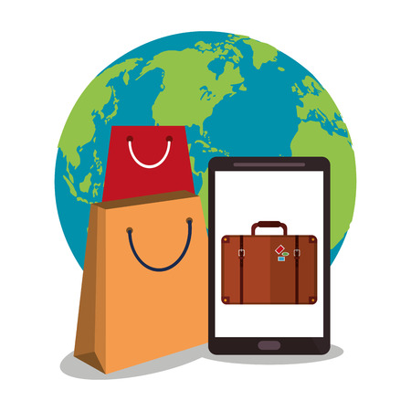 Smartphone planet and bag icon. Payment shopping commerce and merket theme. Colorful design. Vector illustration