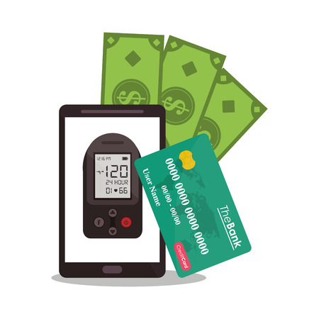 Smartphone bill and credit card icon. Payment shopping commerce and merket theme. Colorful design. Vector illustration