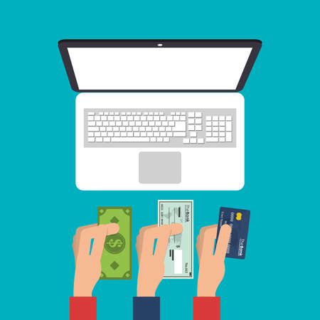 ard: Laptop bill check and credit card icon. Payment shopping commerce and merket theme. Colorful design. Vector illustration Illustration
