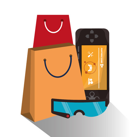 videogame: Bag videogame and glasses icon. Payment shopping commerce and merket theme. Colorful design. Vector illustration