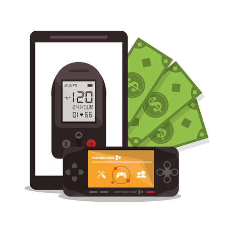 videogame: Videogame smartphone and bills icon. Payment shopping commerce and merket theme. Colorful design. Vector illustration Illustration
