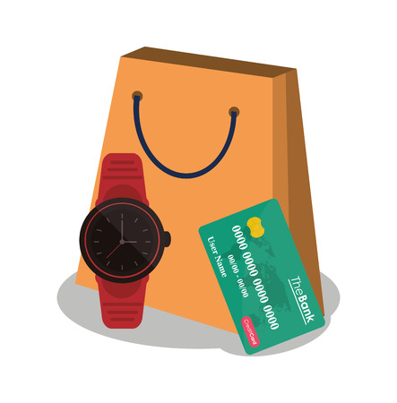 Bag credit card and watch icon. Payment shopping commerce and merket theme. Colorful design. Vector illustration Illustration