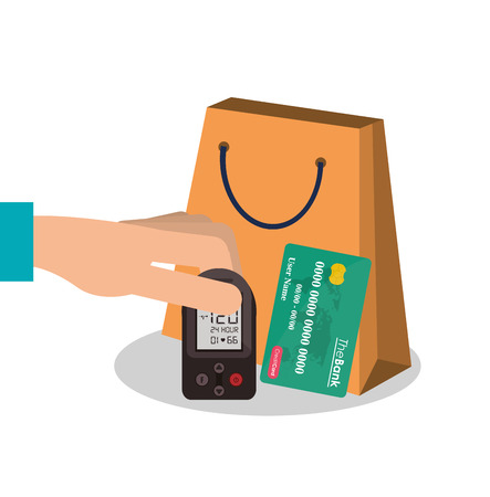 ard: Bag and credit card icon. Payment shopping commerce and merket theme. Colorful design. Vector illustration