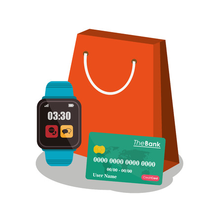 ard: Bag credit card and watch icon. Payment shopping commerce and merket theme. Colorful design. Vector illustration Illustration