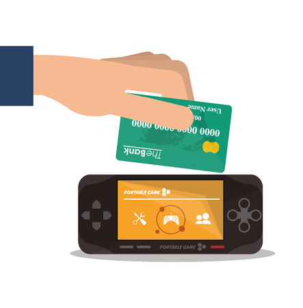 videogame: Videogame and credit card icon. Payment shopping commerce and merket theme. Colorful design. Vector illustration
