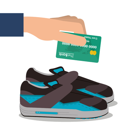 Running shoes and credit card icon. Payment shopping commerce and merket theme. Colorful design. Vector illustration
