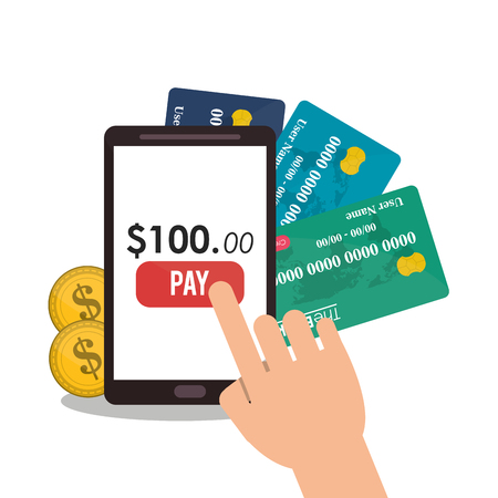 ard: Smartphone and credit card icon. Payment shopping commerce and merket theme. Colorful design. Vector illustration