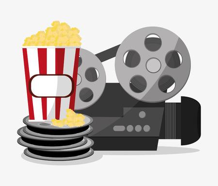 pop corn: Videocamera and pop corn icon. Cinema movie video film and entertainment theme. Colorful design. Vector illustration